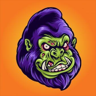Gorilla zombie illustration