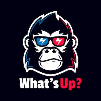 Круто gorilla головной убор очки дизайн логотипа очки