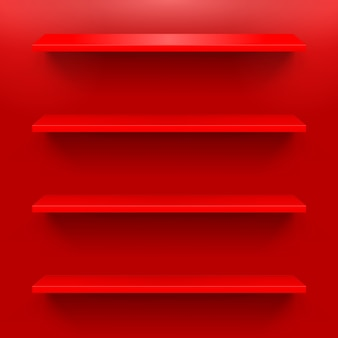 Горизонтальные полки на красной стене для дизайна