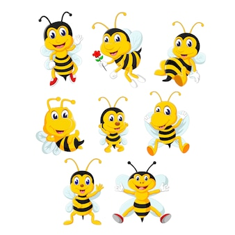 A gorup of cute bee cartoon