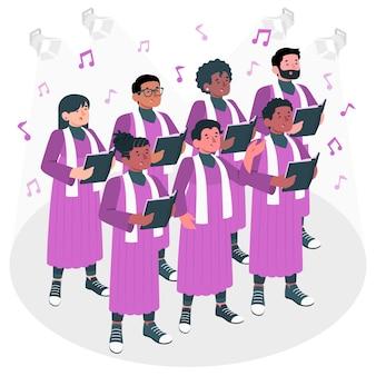 Gospel choirconcept illustration