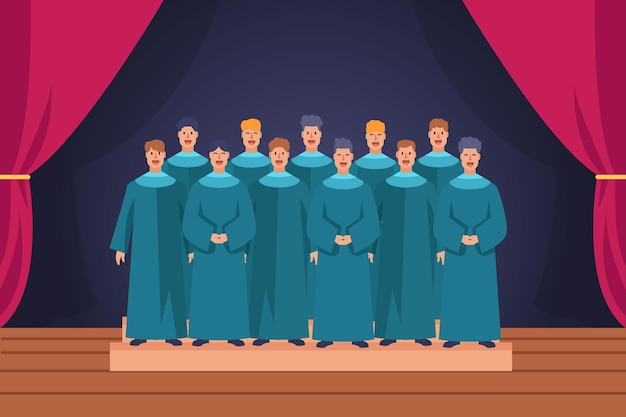 Coro gospel in scena illustrato