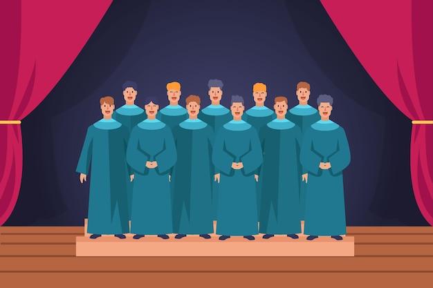 Gospel choir on scene illustrated