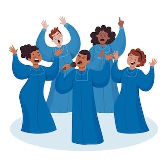 ゴスペル合唱団の歌のイラスト