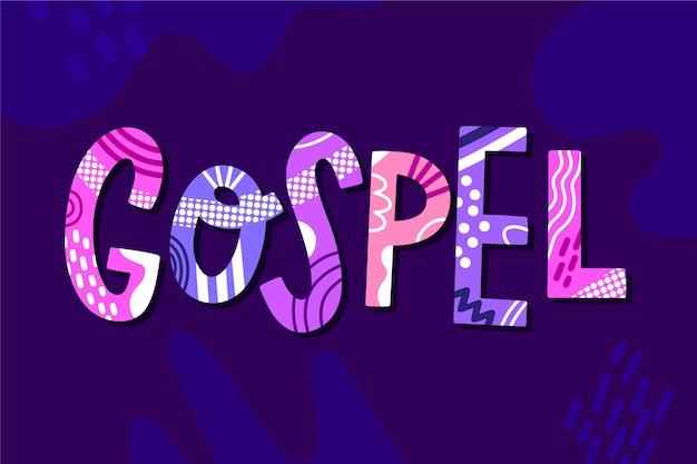 Концепция слова евангелие, написанные на темном фоне