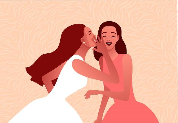 Сплетни иллюстрации. одна взволнованная девушка шепчет секрет подруге.