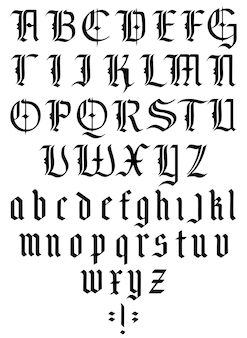 大文字と小文字のゴシックアルファベット中世ゴシックフォントヴィンテージフォントのタイポグラフィ