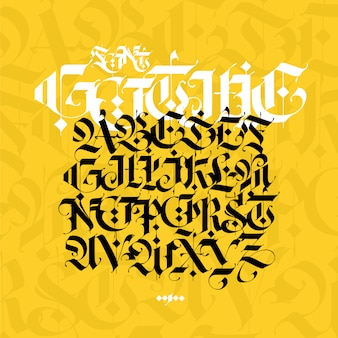 Gothic alphabet. modern gothic. black calligraphic letters on a yellow background.