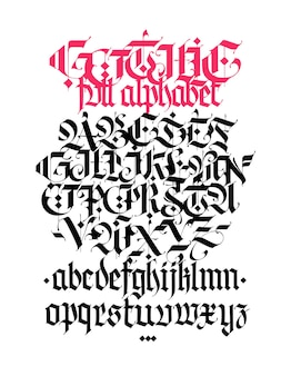 Gothic alphabet vector contemporary gothic black calligraphic letters on a white background