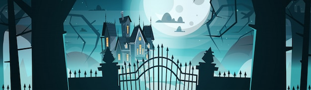 Gothic castle behind gates in moonlight scary, halloween concept