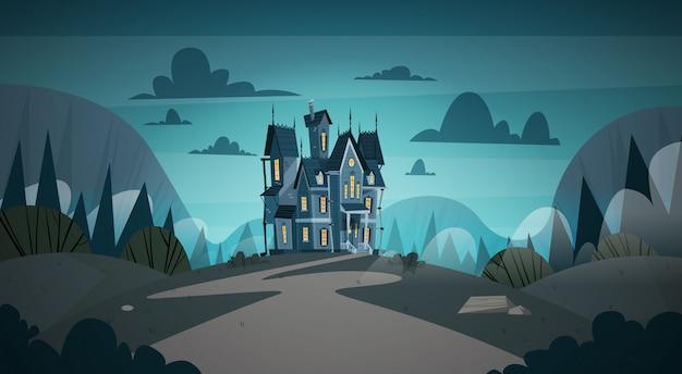 Готический замок в лунном свете страшно, концепция праздника хэллоуина