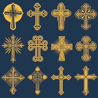 Gothic catholic cross vector icons