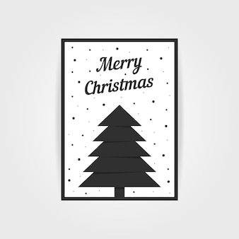 Gothic christmas card with black xmas tree. concept of traditional, header, decorative ornate, event party, grim. isolated on gray background. flat style trend modern postal design vector illustration