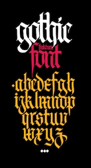 Gothic, english alphabet. calligraphy and lettering. medieval latin letters.