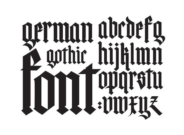 Готика, английский алфавит. шрифт. элементы, изолированные на белом фоне. каллиграфия и надписи. средневековые латинские буквы.