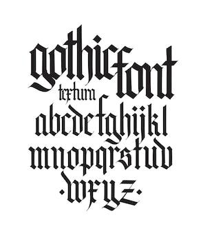 タトゥーの個人的および商業的目的のためのゴシック英語アルファベットフォント