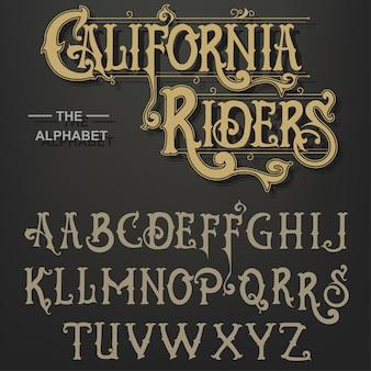 Gothic font, original typeface, handmade medieval script, capital calligraphic letters.