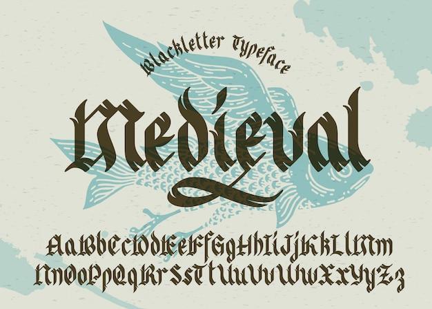 Готический шрифт с фоном летучей рыбы