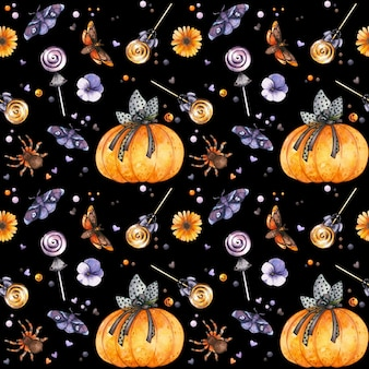 수채화 호박 곤충과 과자 짜증 배경 고딕 할로윈 원활한 패턴