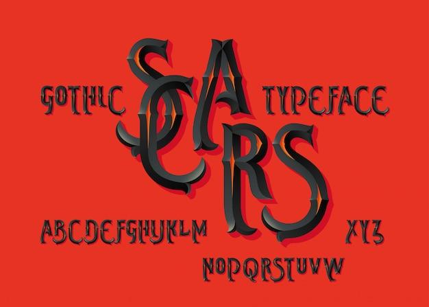 Gothic vector font set
