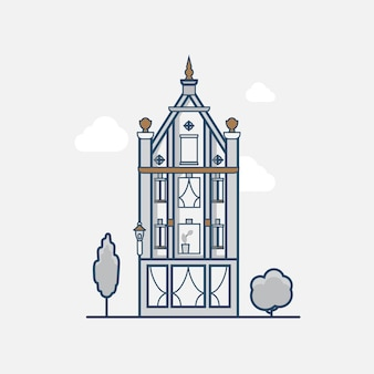 Gothic vintage architecture building hotel. linear stroke outline flat style  icons. color line art icon collection.