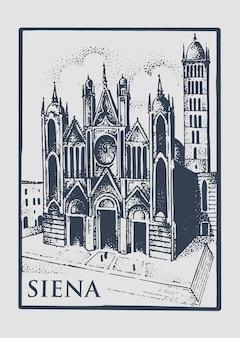 Готическая церковь в сиене, тоскана, италия старый вид старинных рисованной гравированные иллюстрации со зданием и символом городского собора дуомо ди сиена
