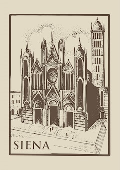 Gotical church in siena, tuskany, italy old looking vintage