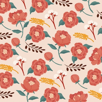 Gouache opaque watercolor red peonies seamless pattern