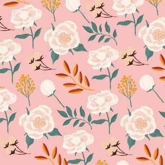 Gouache opaque watercolor white peonies seamless pattern