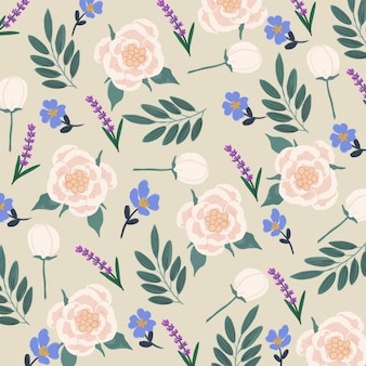 Gouache white peonies  flower seamless pattern