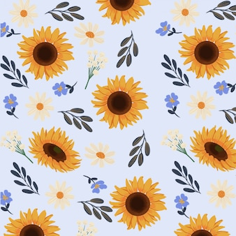 Goucahe summer yellow sunflower seamless pattern