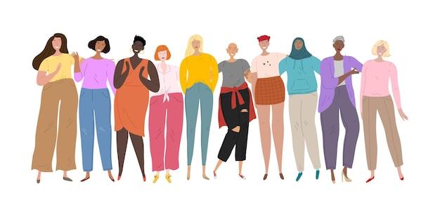 一緒に立っているさまざまな民族や文化の女性のグループ。女性の集団、友情、組合。
