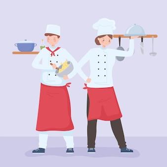 手に食べ物を持つグルメシェフの男性と女性のイラスト