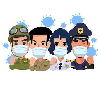 マスクをした政府職員。ウイルスの概念との戦い