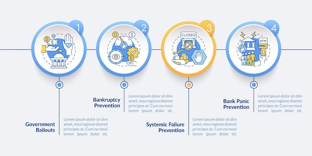 Government bank supervision vector infographic template. crisis presentation outline design elements. data visualization with 4 steps. process timeline info chart. workflow layout with line icons