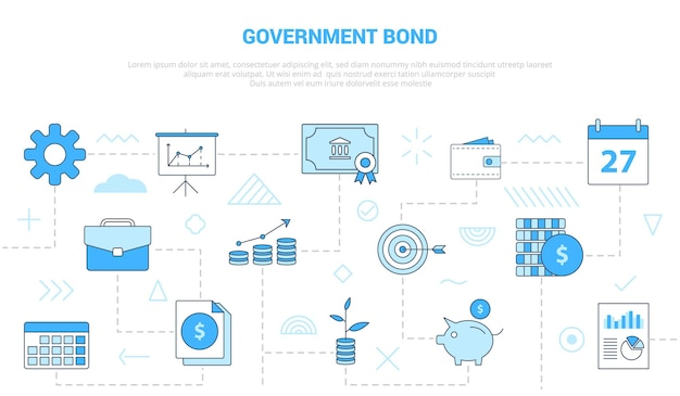 Government bond concept with  set template