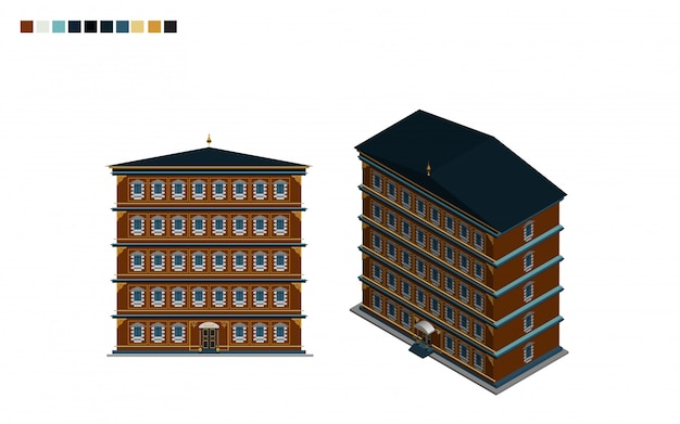 Government building isometric administrative house of architectural style