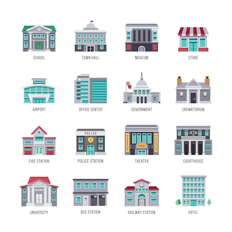 Government buildings flat icons set. city buildings university and courthouse, theater, etc