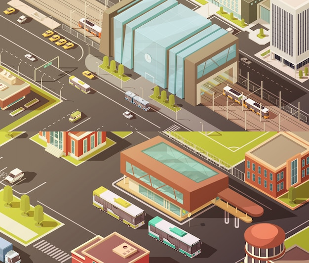 Government buildings isometric horizontal banners set