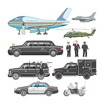 Government car  presidential auto and luxury business transportation with police car illustration set of transport plane vehicle and motorcycle with president  on white background