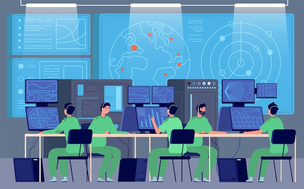 Government control center. command room, engineers controlling military mission. security station, cybersecurity department vector. government security center, control and surveillance illustration