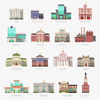 Government houses. municipal office bank, buildings hospital school university police station library city exterior flat icons