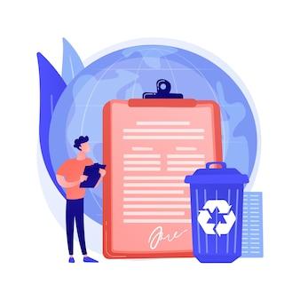 政府は、抽象的な概念のベクトル図のリサイクルを義務付けました。生態学的規制、地域のリサイクル法、都市固形廃棄物、リサイクル可能な材料、カーブサイドプログラムの抽象的な比喩。
