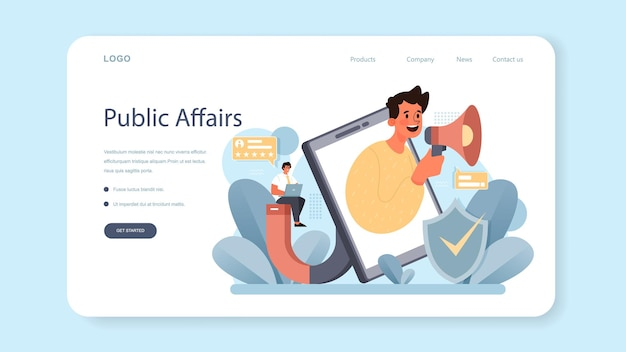 Government pr web banner or landing page. political party or political institutions public administration and promotion. positive relationship with electorate building. flat vector illustration