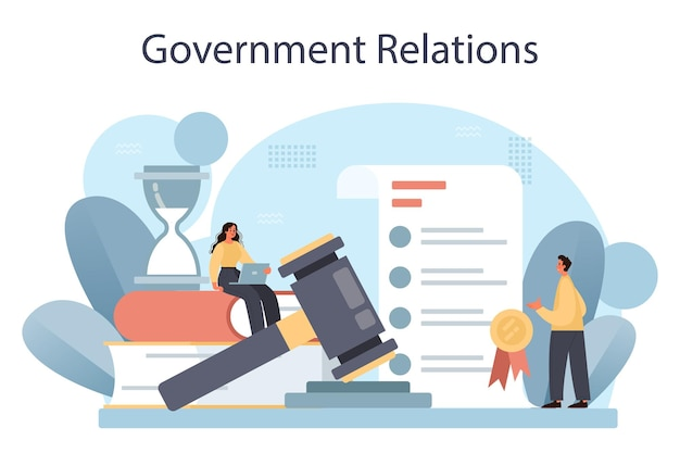 Government relations public administration and promotion. flat vector illustration