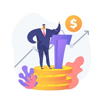 Government spending abstract concept vector illustration. spending country budget, government expenditures list, public sector consumption, gross domestic product, tax sources abstract metaphor.