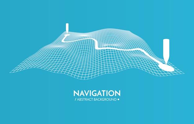 Gpsナビゲーターの背景。 3dテクノロジーマップ