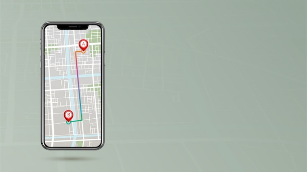 Gps-указатель, показывающий маршрут от точки a до точки b на мобильном телефоне с пробелом