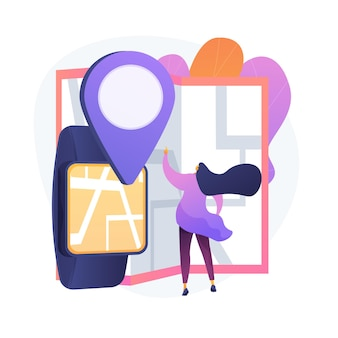 Gps application. finding path in city. destination mark. map navigation, location guide, route tracking. road in town. cartography and geography. vector isolated concept metaphor illustration.
