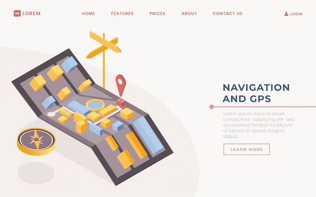 Gps application landing page vector template